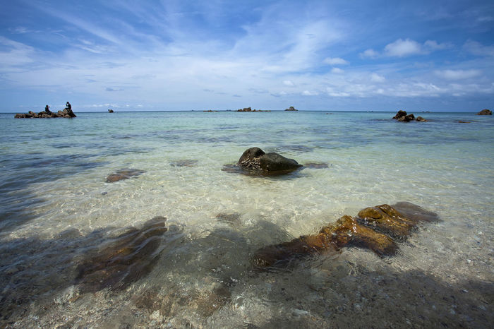 the Scenic view of the sea at Jemur Island of Indonesia INDONESIA Jemur Island Beach Beauty In Nature Cloud - Sky Day Horizon Over Water Nature Nautical Vessel Outdoors Riau Rock - Object Scenics Sea Sky Tranquil Scene Tranquility Water