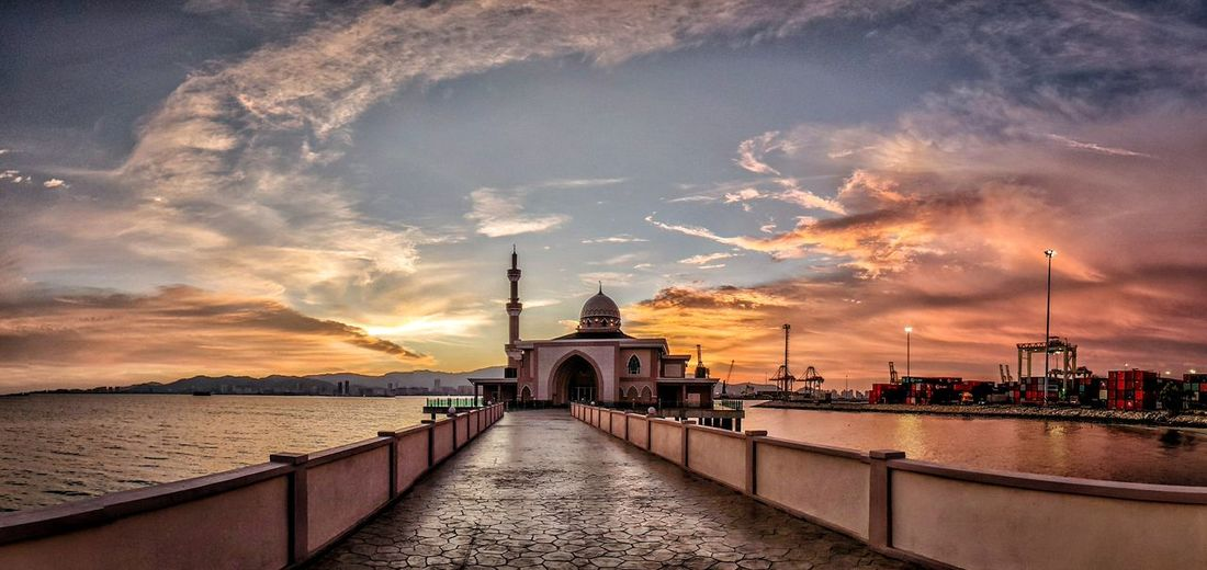 Mosque view with the sea and island background. Mosque Malaysia Penang Islam Cityscape City Water Sea Sunset Beach Place Of Worship Summer Religion Spirituality Calm Dramatic Sky Atmospheric Mood Sky Only Lightning Moody Sky Romantic Sky Pier Seascape Panoramic Wave