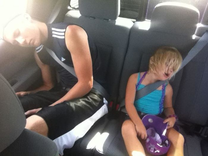 Boy Girl Peaceful Portrait Quiet Car Sleeping Kids Things I Like Worn Out Share The Drive