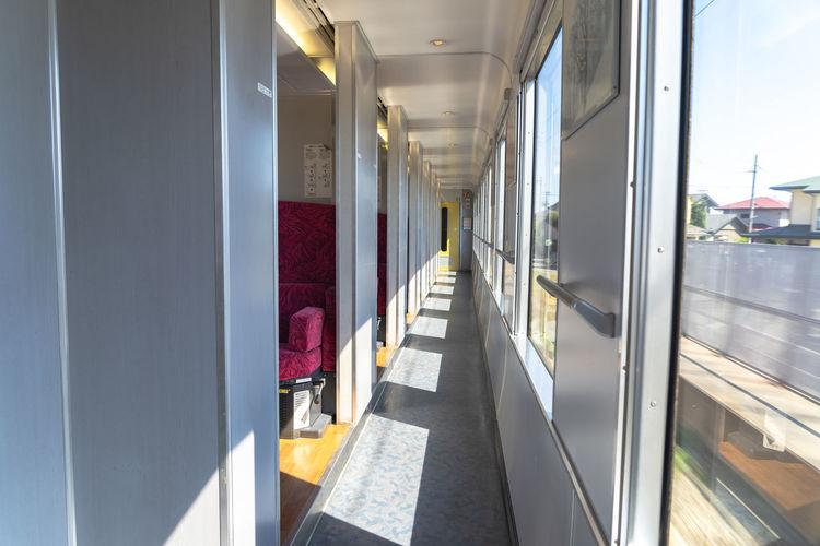 Interior of east japan railway gono line resort shirakami sightseeing train.