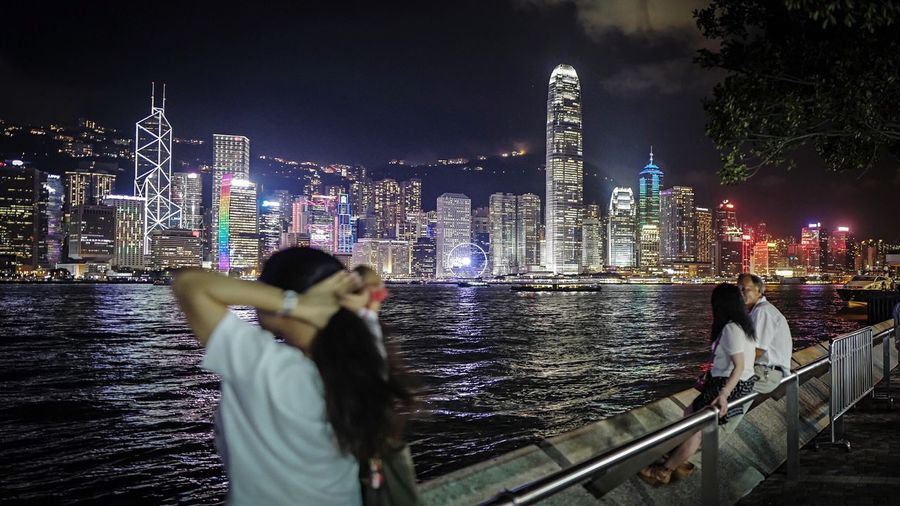 night harbour TST. HongKong Discoverhongkong Leica Leicaq Nightphotography Neon Lights Night Lights Harbour View Walking Around EyeEm Best Shots