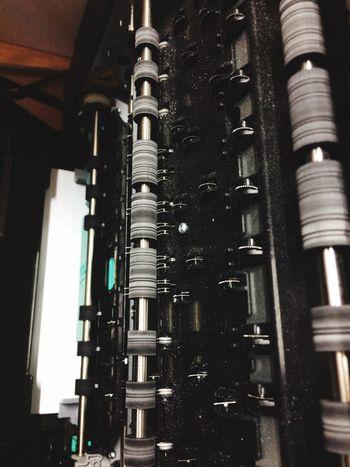 Close Up Technology Printer Paper Place Rolls Technology Inside Machine