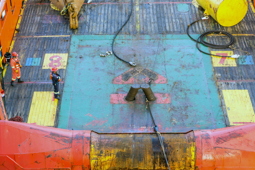 anchor handling Vessel Nautical Maritime Oil And Gas Industry Construction Installation Anchor Anchor Handling Deck Tug Tugboat Boat Ship Shark Jaw Able Bodied Seamen Coverall Wire Rope Buoy Stern Roller