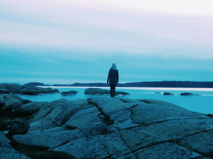 Rear view of person standing on rock at sea shore against sky at dusk