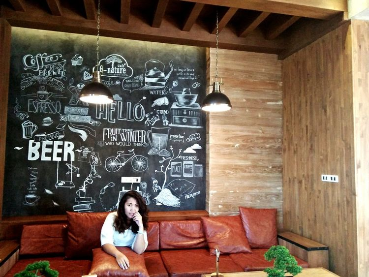 Looking Women Indoors  Coffee Time Coffeeplease Coffeeplace Blackboard  😚yo Chilly Day Chillout Chiang Mai Thailand