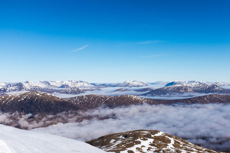 Scenic view of snow covered mountains and cloudscape against sky