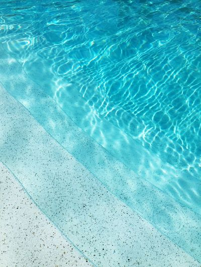 High angle view of rippled water in swimming pool