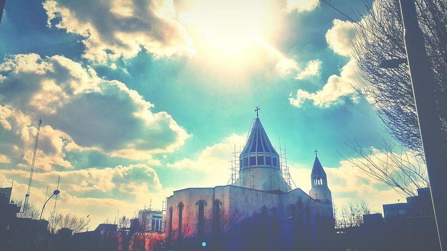 Church God Sky And Clouds Holy Cross