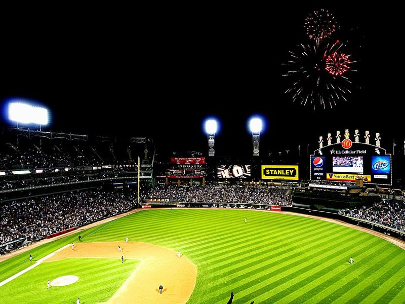 Chicago White Sox Baseball U.S. Cellular Field Stadium Sport Time Baseball Game Baseball Stadium White Sox Chicago Eyeemsports Eye4photography  From My Point Of View Grand Slam Homerun Fireworks Fireworks In The Sky Fireworksphotography Night Lights Night Ballgame Simple Moment
