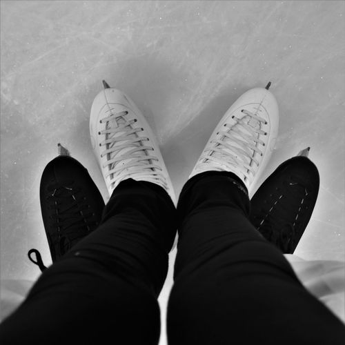 Close-up Couple High Angle View Human Body Part Human Foot Human Leg Ice Ice Rink Ice Skate Ice Skating Lifestyles Love Low Section Men Outdoors People Personal Perspective Real People Shoe Skates Two People Water Women Workout