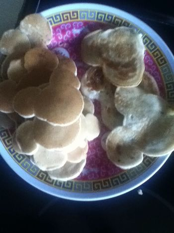 A stack of Mickey pancakes I made