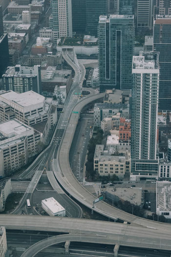 Aerial view over empty streets of san francisco