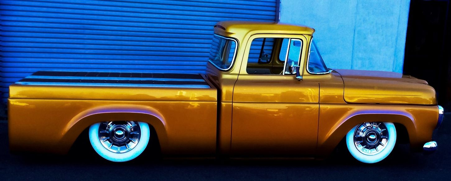 Custom Ford Hauler Car Land Vehicle Mode Of Transportation Motor Vehicle Transportation Blue Yellow Retro Styled No People Stationary Vintage Car Day City Architecture Headlight Window Wall - Building Feature Outdoors Metal Garage