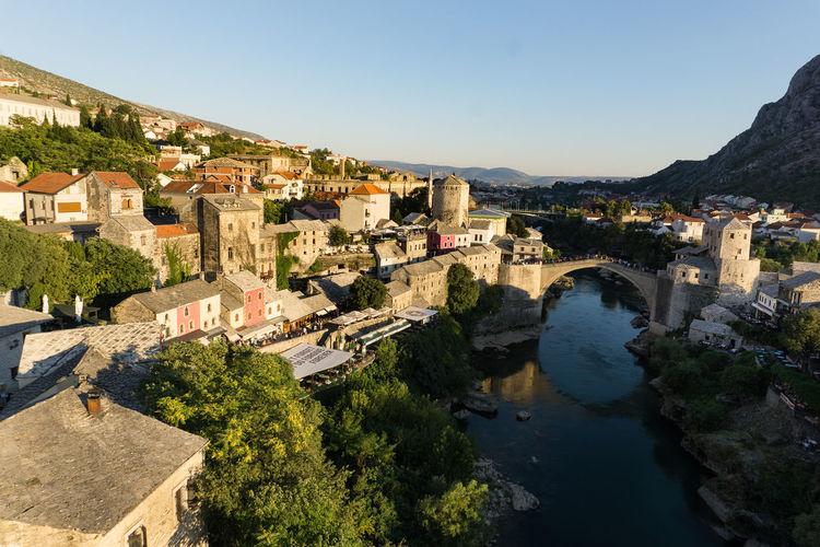 High angle view of stari grad over river in city