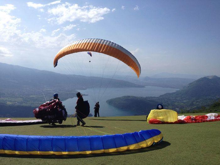 Paragliders preparing to take off