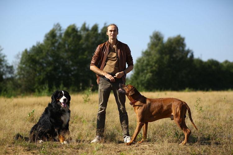 Full length of dog on field against sky