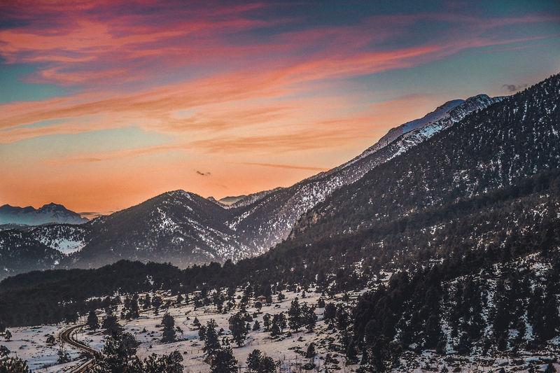 Mountain Snow Winter Mountain Range Nature Sunset Landscape