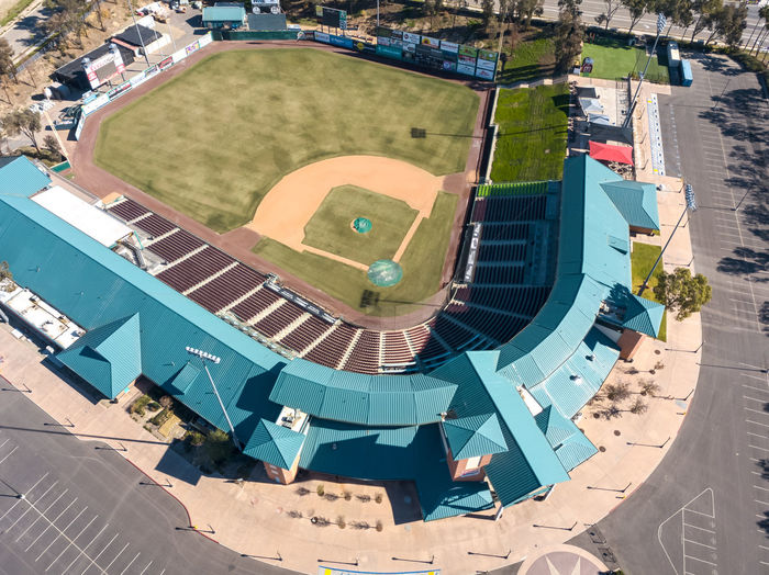 "Lake Elsinore, CA / USA - 12/30/2018: An aerial view of ""The Diamond"", Storm Stadium, home of the Lake Elsinore Storm. High Angle View Architecture Building Exterior Built Structure Day Nature Outdoors Travel Destinations Baseball Stadium Baseball Stadium Minor League Baseball  Sky Elsinore Lake Elsinore Drone  Aerial View Aerial Photography"