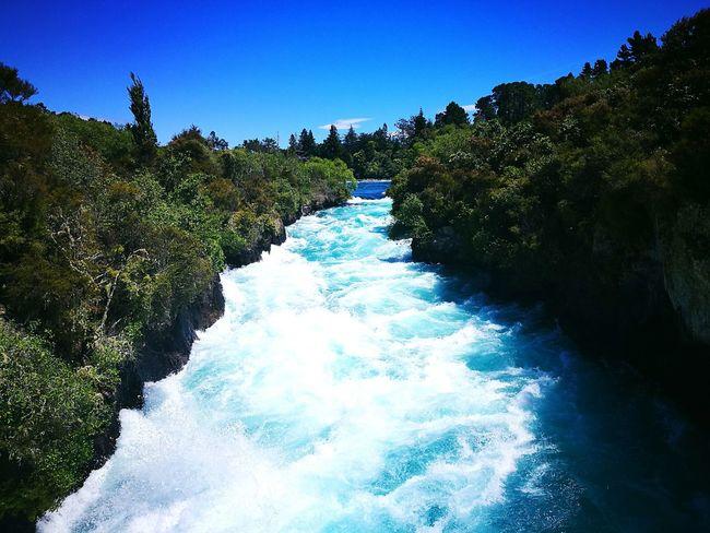 Huka Falls outside Taupo. River Water Waterfall Taupo Huka Falls Blue Nature
