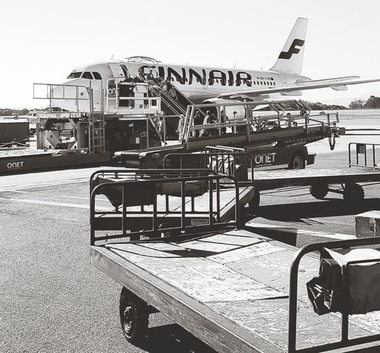 Old-fashioned Transportation Day No People Outdoors Sky Airplane Black And White Finnair Airport Airportphotography Logistics