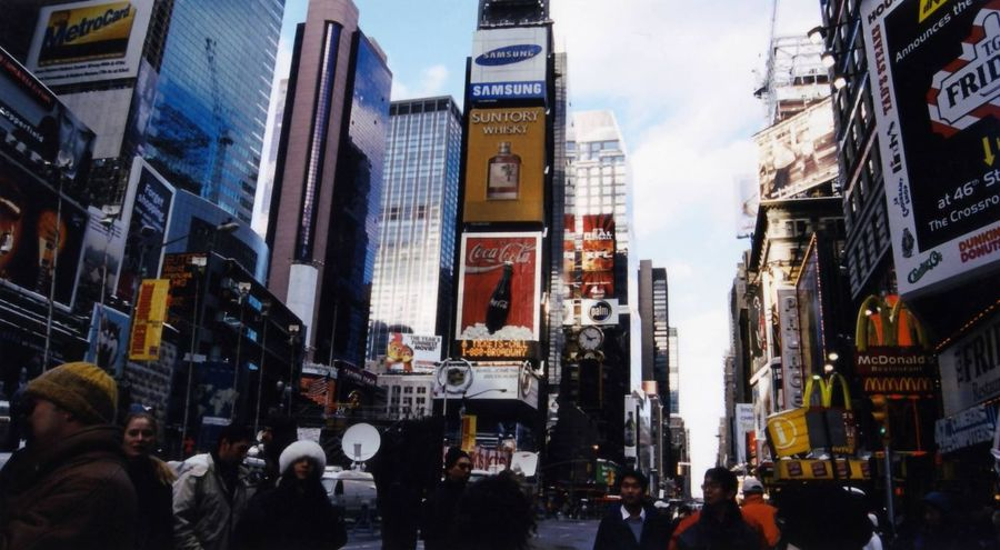 New York New York Snowday New York City Times Square NYC TimesSquare 2001 Winter NewYear Advertisement Large Group Of People Crowd Neon Building Exterior