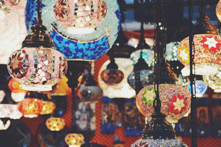 Decorated lanterns at shop