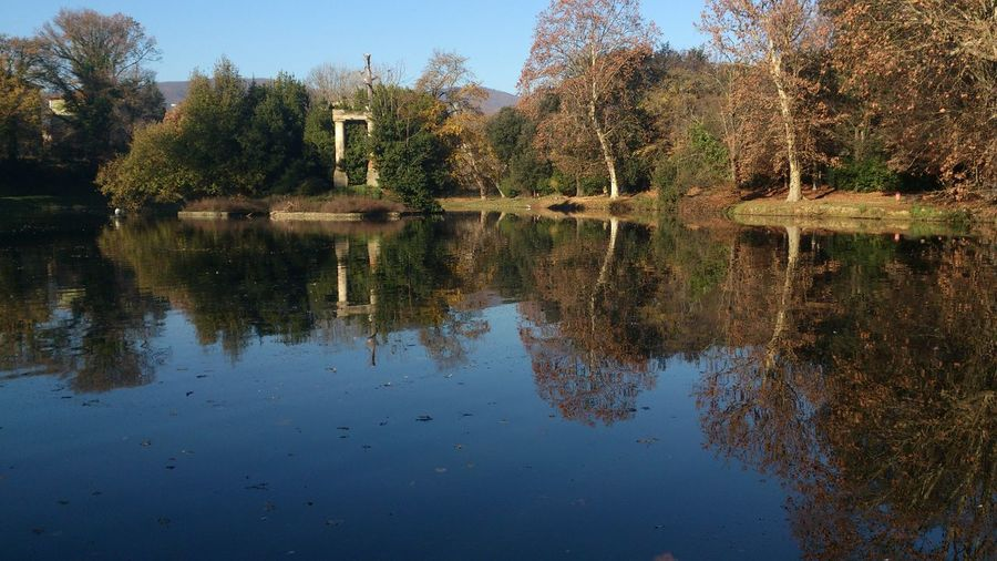 Pistoia, Parco Villone Puccini. Sony Xperia S. Pistoia Mirror Reflection Relaxing Colorphotography Colors Of Autumn Outdoors Beauty In Nature Landscape Architecture Trees Tranquil Scene No People, No Person lakeside Lakeshore Lake Blu No People Blue Italia Italy