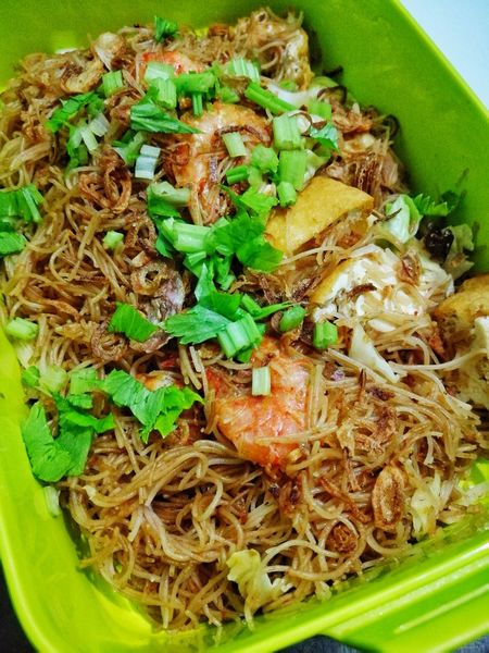 Home sweet home Bento Mee Noodles Breakfast Asian  Lunch Dinner Prawn Ketchup Green Color Food And Drink No People Food High Angle View Freshness Close-up Ready-to-eat Indoors  Day Healthy Eating