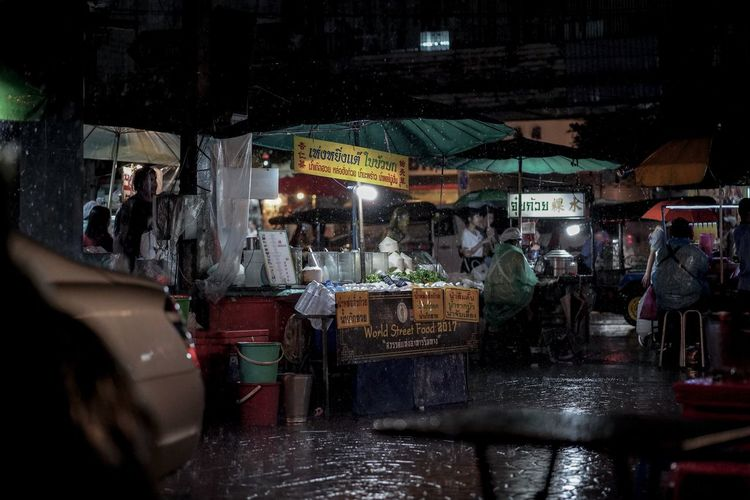 People at street market during night