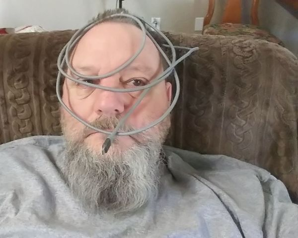 Sorry... A little tied down at the moment... Cord Phone Cord Tied Up, Face Rope Sorry Only Men One Man Only Adult One Mature Man Only Adults Only One Person Beard Mature Adult Front View Indoors  Gray Hair One Senior Man Only Looking At Camera Men Close-up Portrait