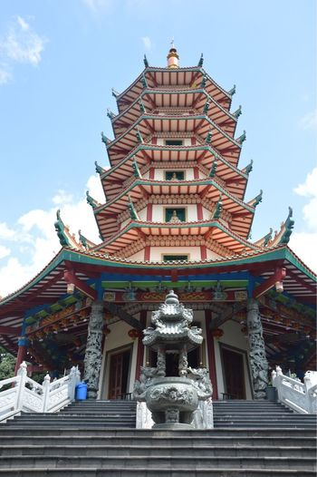 Pagoda Architecture Built Structure Belief Religion Spirituality Place Of Worship Low Angle View Outdoors Sky Building Sculpture Travel Destinations Nature