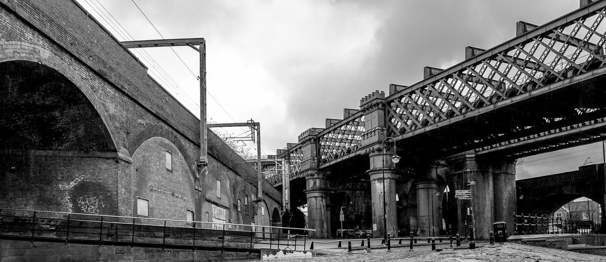 Two railway lines meet, Castlefield, Manchester Bridges Manchester In Manchester Black And White Monochrome Architecture Industrial Industrial Landscapes Castlefield Railways