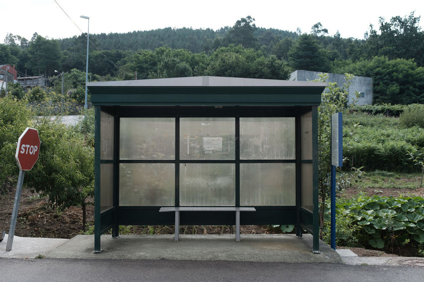 LOST IN GALICIA 🚌 Lostingalicia Threeweeksgalicia Bus Stop Tree Plant Day Nature No People Growth Transportation Road Sign Road Outdoors Information Architecture Empty Land Green Color Transparent