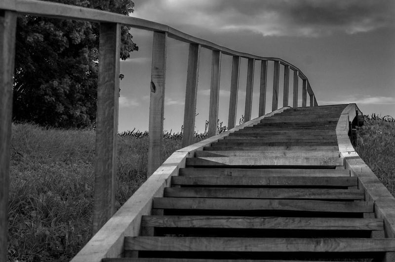 Stairs Architecture Black And White Built Structure Cloud - Sky Mountain Nature No People Outdoors Sky Staircase Stairs To The Hill Steps Steps And Staircases Tree Wooden Stairs EyeEm Ready