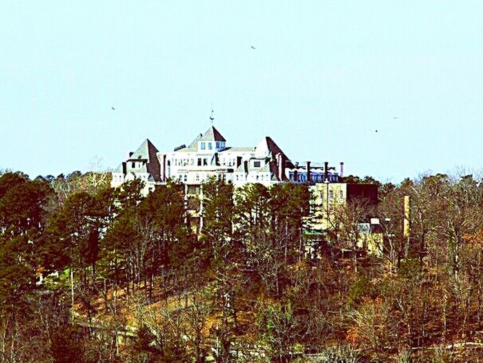 Haunted hotel. Crescent Hotel Eureka Springs Arkansas. Vultures flying over the top of it. Hotels Hotelsightseeing Hotelview Hotelporn