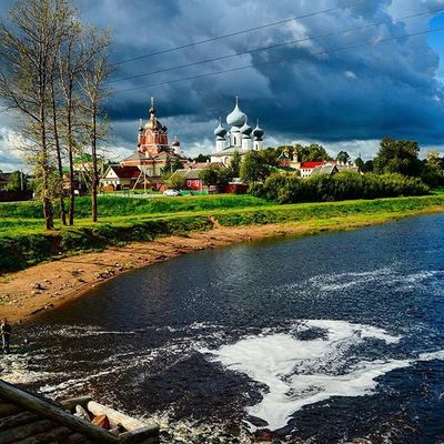 Russia Tihvin Cloudy Day summer holidays sky river landscape cityscape water sand monastery church