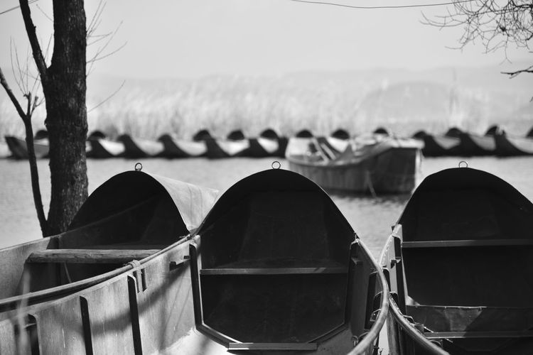 Close-up Of Cropped Boats In Water