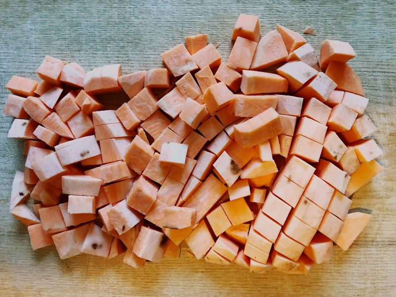 Preparing Food Chopped Sweet Potatoes Large Group Of Objects Wood - Material No People Day Food