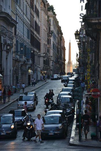 Rome Street City Architecture Landmark Axis Obelisk