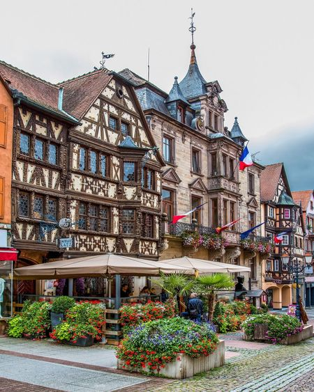 Architecture Building Exterior Built Structure Outdoors Day No People Flower Clear Sky City Sky Beautiful Elsass Frankreich 🇫🇷 France Saverne, France Taverne Katz Restaurant Frankreich ♥ Façade Travel Destinations Romantic Architecture Urlaub Vacations Sommer