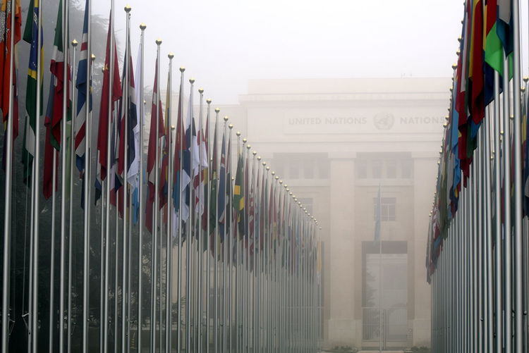 Building Flagpole Flags Fog Geneva In A Row Mist Multi Colored United Nations