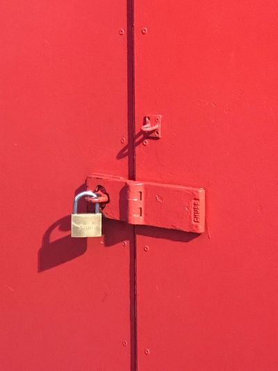 Security Safety Red Protection Lock Entrance Door Close-up Padlock No People Shadow Wood - Material