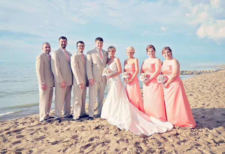 If we do nothing least we look amazing. Bridal Party; 10.01.17 on Lake Michigan. Bride Married Beach Life Events Newlywed Bridesmaid Wedding Reception