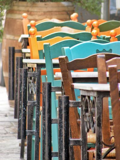 Close-up view of chairs