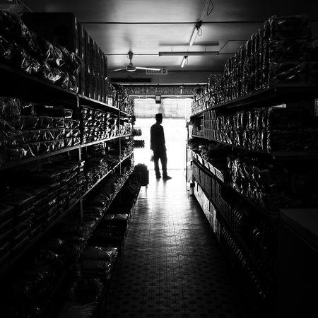 My Father feeling Nostalgia when visiting Childhood Grocerystore back at his Hometown , Kg. Rempayoh Labi. Childhood Memories Blackandwhite Shillouette