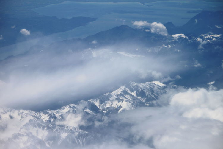 Cloud - Sky Beauty In Nature Scenics - Nature Nature Mountain Mountain Range Aerial View Day No People White Color Outdoors Mountain Peak Snowcapped Mountain Lake View Italian Alps April 2019