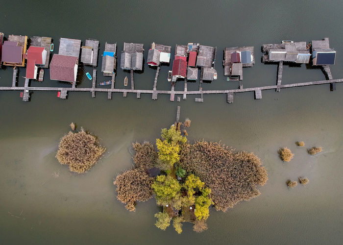 Directly Above View Of Houses On Water