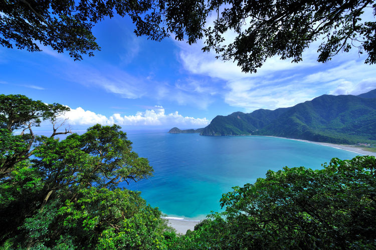 Beauty In Nature Blue Cloud - Sky Day High Angle View Horizon Over Water Idyllic Mountain Nature No People Outdoors Scenics Sea Sky Tranquil Scene Tranquility Travel Destinations Tree Water 優美姿態 台灣 寧靜 海岸線 蘇花公路 風景・景色