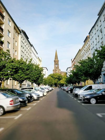 Architecture Built Structure Transportation Building Exterior Mode Of Transport Sky Day Road Tree Street Outdoors City Travel Destinations Place Of Worship No People Zionskirche Zionskirchstrasse Berlin Vanishing Point Copy Space The Way Forward Church