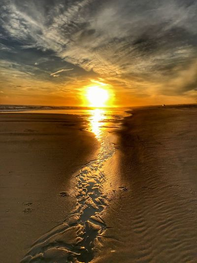 FireIslandOnFire New York Long Island Atlantic Ocean Fire Island Sunset Beauty In Nature Nature Scenics Sky Water Orange Color
